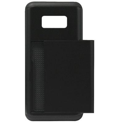 ADEL Kunststof Back Cover Hardcase Hoesje voor Samsung Galaxy S8 Plus - Pasjeshouder Zwart