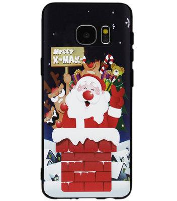 ADEL Siliconen Back Cover Softcase Hoesje voor Samsung Galaxy S7 Edge - Kerstmis Kerstman