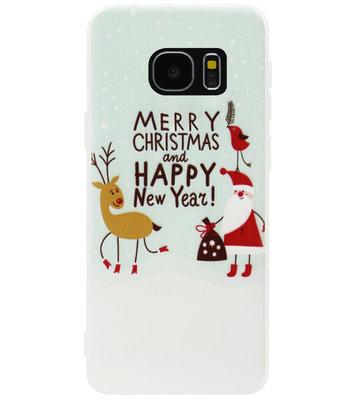 ADEL Siliconen Back Cover Softcase Hoesje voor Samsung Galaxy S7 Edge - Kerstmis Kerstman Rendier
