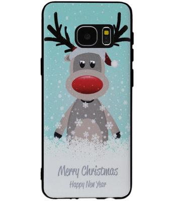 ADEL Siliconen Back Cover Softcase Hoesje voor Samsung Galaxy S7 Edge - Kerstmis Rendier