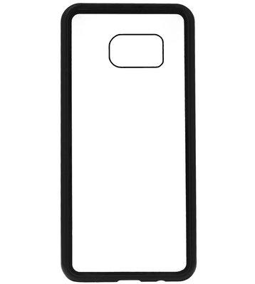 ADEL Magnetisch Kunststof Glas Back Cover Hardcase Hoesje voor Samsung Galaxy S7 Edge - Zwart