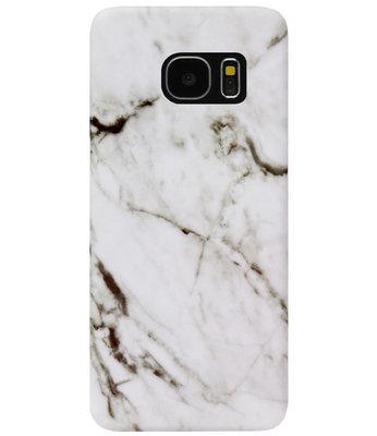 ADEL Kunststof Back Cover Hardcase Hoesje voor Samsung Galaxy S7 Edge - Marmer Wit