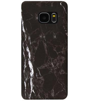 ADEL Kunststof Back Cover Hardcase Hoesje voor Samsung Galaxy S7 Edge - Marmer Zwart