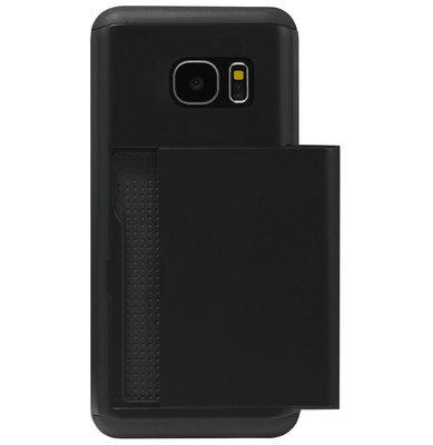 ADEL Kunststof Back Cover Hardcase Hoesje voor Samsung Galaxy S7 Edge - Pasjeshouder Zwart