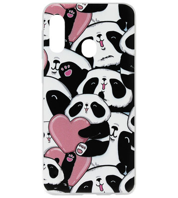 ADEL Siliconen Back Cover Softcase Hoesje voor Samsung Galaxy A20/ A30 - Panda Hartjes