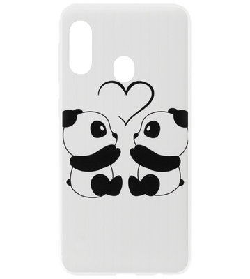 ADEL Kunststof Back Cover Hardcase Hoesje voor Samsung Galaxy A20/ A30 - Panda Familie