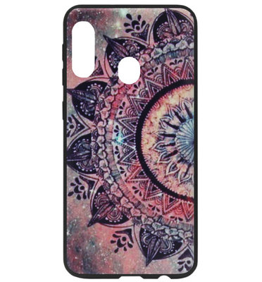 ADEL Siliconen Back Cover Softcase Hoesje voor Samsung Galaxy A40 - Mandala Bloemen Rood