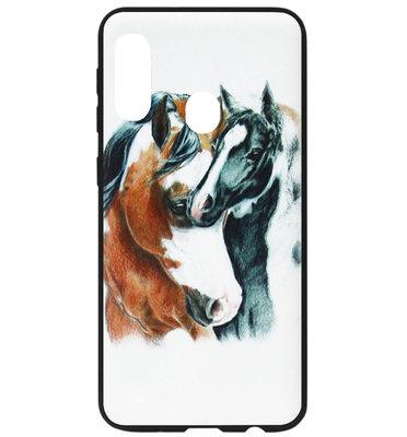 ADEL Siliconen Back Cover Softcase Hoesje voor Samsung Galaxy A40 - Paarden Bruin Zwart