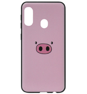 ADEL Siliconen Back Cover Softcase Hoesje voor Samsung Galaxy A40 - Biggetje Roze