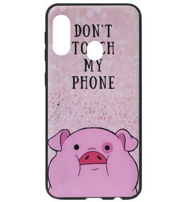 ADEL Siliconen Back Cover Softcase Hoesje voor Samsung Galaxy A40 - Biggetje Don't Touch My Phone