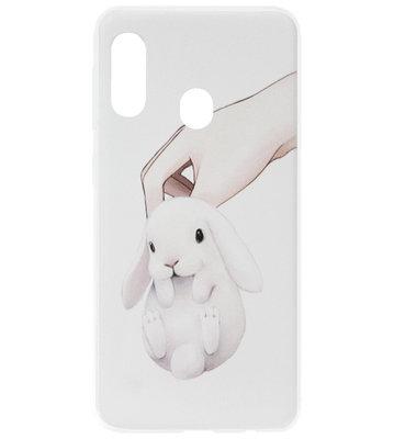 ADEL Siliconen Back Cover Softcase Hoesje voor Samsung Galaxy A40 - Konijnen Wit