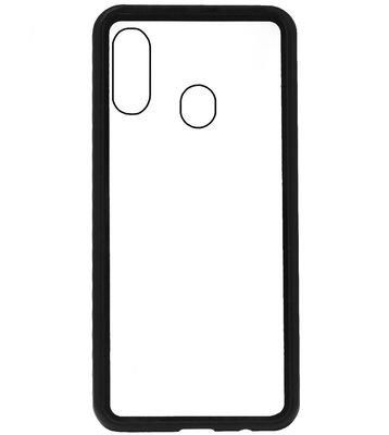 ADEL Magnetisch Glazen Kunststof Back Cover Hoesje voor Samsung Galaxy A40 - Zwart