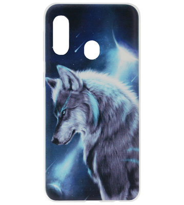 ADEL Siliconen Back Cover Softcase Hoesje voor Samsung Galaxy A40 - Wolf Blauw