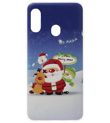 ADEL Siliconen Back Cover Softcase Hoesje voor Samsung Galaxy A40 - Kerstmis Kerstman