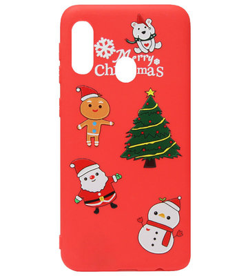 ADEL Siliconen Back Cover Softcase Hoesje voor Samsung Galaxy A40 - Kerstmis Boom Sneeuwpop Kerstman