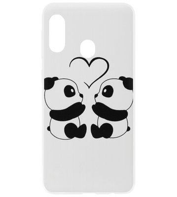 ADEL Kunststof Back Cover Hardcase Hoesje voor Samsung Galaxy A40 - Panda Familie