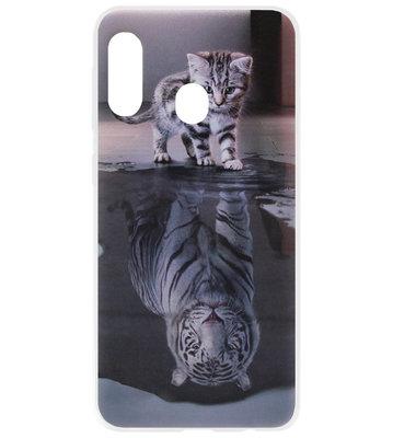 ADEL Siliconen Back Cover Softcase Hoesje voor Samsung Galaxy A40 - Poezen Schaduw Tijger