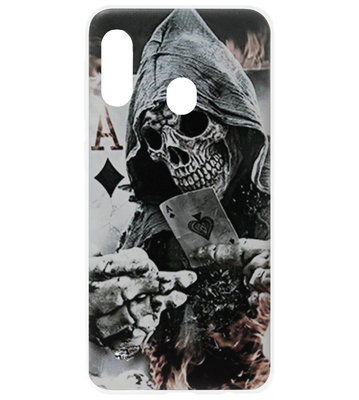 ADEL Siliconen Back Cover Softcase Hoesje voor Samsung Galaxy A40 - Schedel Kaart