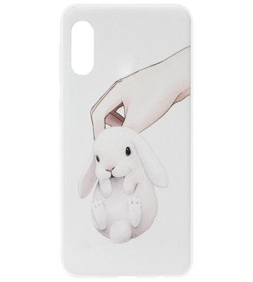 ADEL Siliconen Back Cover Softcase Hoesje voor Samsung Galaxy A70(s) - Konijnen Wit