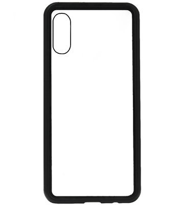 ADEL Magnetisch Glazen Kunststof Back Cover Hoesje voor Samsung Galaxy A70(s) - Zwart