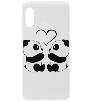 ADEL Kunststof Back Cover Hardcase Hoesje voor Samsung Galaxy A70(s) - Panda Familie