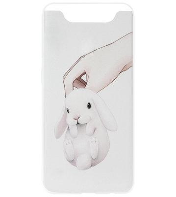 ADEL Siliconen Back Cover Softcase Hoesje voor Samsung Galaxy A80/ A90 - Konijnen Wit