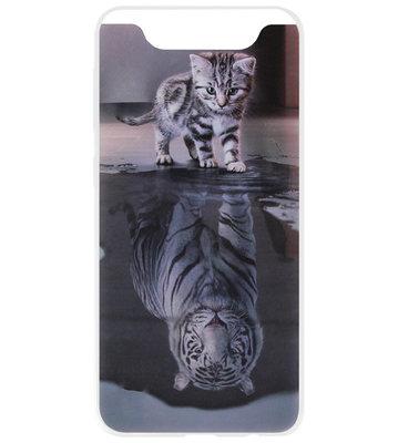 ADEL Siliconen Back Cover Softcase Hoesje voor Samsung Galaxy A80/ A90 - Poezen Schaduw Tijger