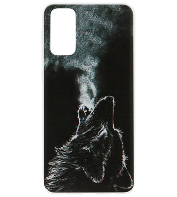ADEL Siliconen Back Cover Softcase Hoesje voor Samsung Galaxy S20 - Wolf Zwart