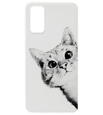 ADEL Siliconen Back Cover Softcase Hoesje voor Samsung Galaxy S20 - Katten Wit