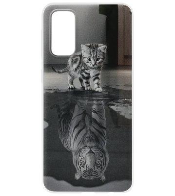 ADEL Siliconen Back Cover Softcase Hoesje voor Samsung Galaxy S20 Ultra - Poezen Schaduw Tijger