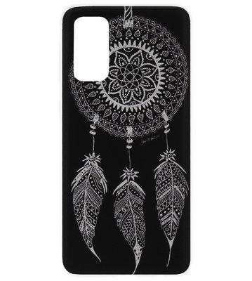 ADEL Siliconen Back Cover Softcase Hoesje voor Samsung Galaxy S20 Ultra - Dromenvanger Mandala Zwart Wit