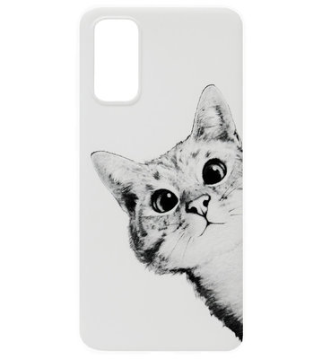 ADEL Siliconen Back Cover Softcase Hoesje voor Samsung Galaxy S20 Plus - Katten Wit