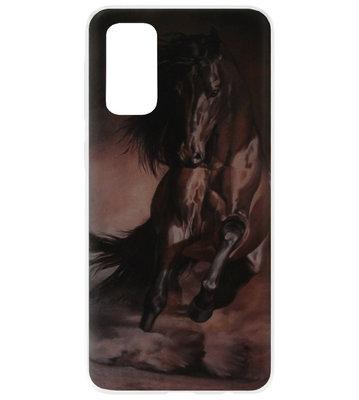 ADEL Siliconen Back Cover Softcase Hoesje voor Samsung Galaxy S20 Plus - Paarden Zwart
