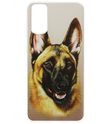 ADEL Siliconen Back Cover Softcase Hoesje voor Samsung Galaxy S20 Plus - Duitse Herder Hond