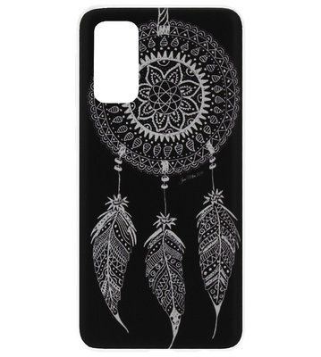ADEL Siliconen Back Cover Softcase Hoesje voor Samsung Galaxy S20 Plus - Dromenvanger Mandala Zwart Wit