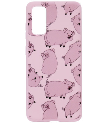 ADEL Siliconen Back Cover Softcase Hoesje voor Samsung Galaxy S20 Plus - Biggetjes Varkens Roze