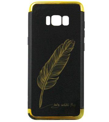 ADEL Siliconen Back Cover Softcase Hoesje voor Samsung Galaxy S8 Plus - Veren Goud