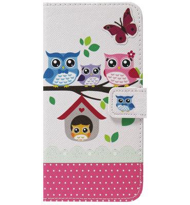 ADEL Kunstleren Book Case Pasjes Hoesje voor Samsung Galaxy S8 Plus - Uilen Familie Roze