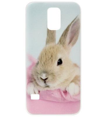 ADEL Siliconen Back Cover Softcase Hoesje voor Samsung Galaxy S5 (Plus)/ S5 Neo - Konijn Roze