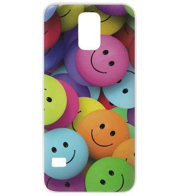 ADEL Siliconen Back Cover Softcase Hoesje voor Samsung Galaxy S5 (Plus)/ S5 Neo - Smileys Kleur