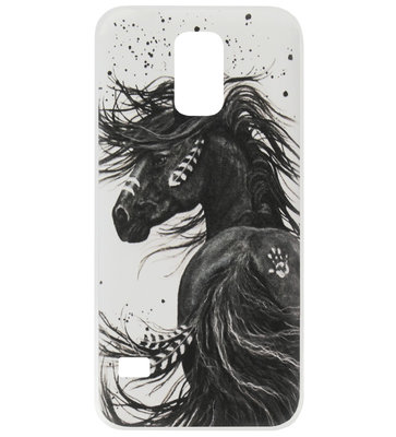 ADEL Siliconen Back Cover Softcase Hoesje voor Samsung Galaxy S5 (Plus)/ S5 Neo - Paard met Veren