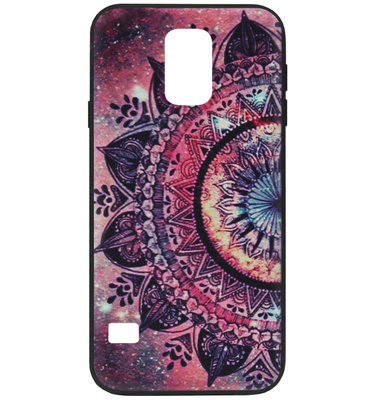 ADEL Siliconen Back Cover Softcase Hoesje voor Samsung Galaxy S5 (Plus)/ S5 Neo - Mandala Bloem Rood