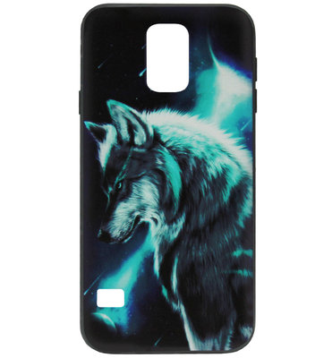 ADEL Siliconen Back Cover Softcase Hoesje voor Samsung Galaxy S5 (Plus)/ S5 Neo - Wolf Blauw