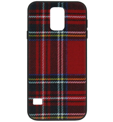 ADEL Siliconen Back Cover Softcase Hoesje voor Samsung Galaxy S5 (Plus)/ S5 Neo - Stoffen Design Rood