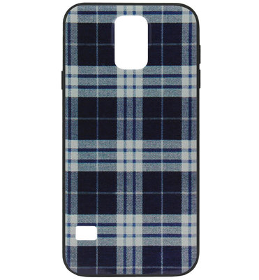 ADEL Siliconen Back Cover Softcase Hoesje voor Samsung Galaxy S5 (Plus)/ S5 Neo - Stoffen Design Blauw
