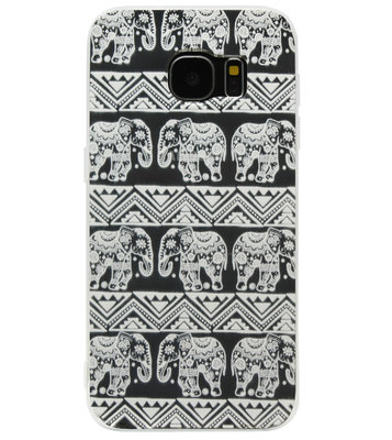 ADEL Siliconen Back Cover Softcase Hoesje voor Samsung Galaxy S6 Edge - Mandala Olifanten Wit