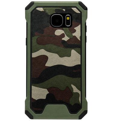 ADEL Kunststof Bumper Hardcase Hoesje voor Samsung Galaxy S6 Edge - Camouflage Groen