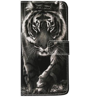 ADEL Kunstleren Book Case Pasjes Hoesje voor Samsung Galaxy A70(s) - Tijger Zwart