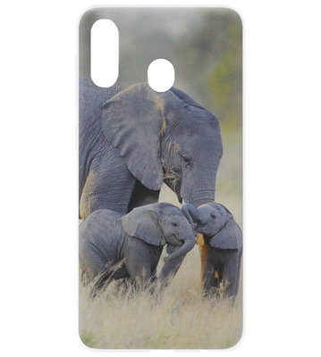 ADEL Siliconen Back Cover Softcase Hoesje voor Samsung Galaxy A40 - Olifant Familie