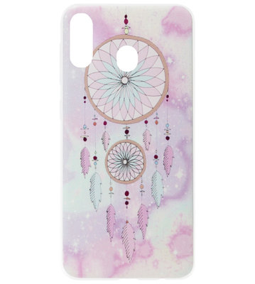 ADEL Siliconen Back Cover Softcase Hoesje voor Samsung Galaxy A40 - Dromenvanger Roze